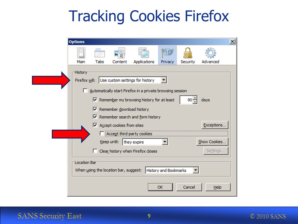 SANS Security East © 2010 SANS Tracking Cookies Firefox 9