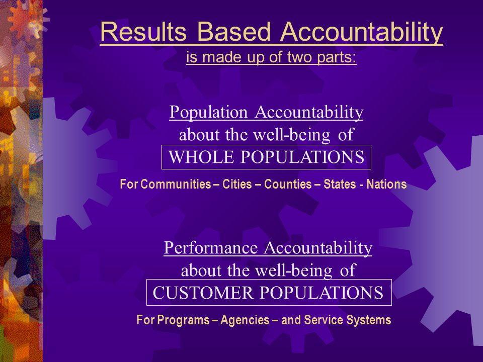 Results Based Accountability is made up of two parts: Performance Accountability about the well-being of CUSTOMER POPULATIONS For Programs – Agencies – and Service Systems Population Accountability about the well-being of WHOLE POPULATIONS For Communities – Cities – Counties – States - Nations
