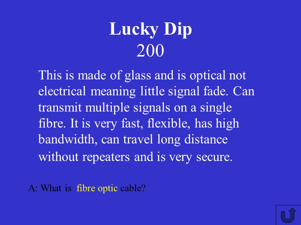 Lucky Dip 100 A: What does a star topology look like?