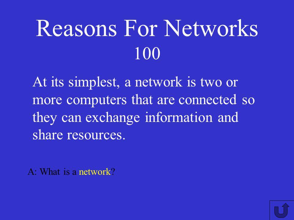 Reasons For NetworksNetworkHardwareNetworkTypesLuckyDipNetworkTopologies 100 200 300 400 500
