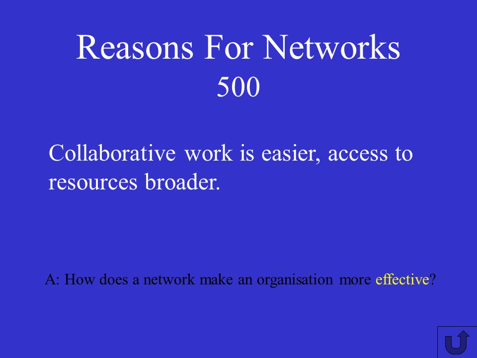 Reasons For Networks 400 A: What are the efficiency indicators of a network? Faster communication, cost savings (compare email costs with phone calls