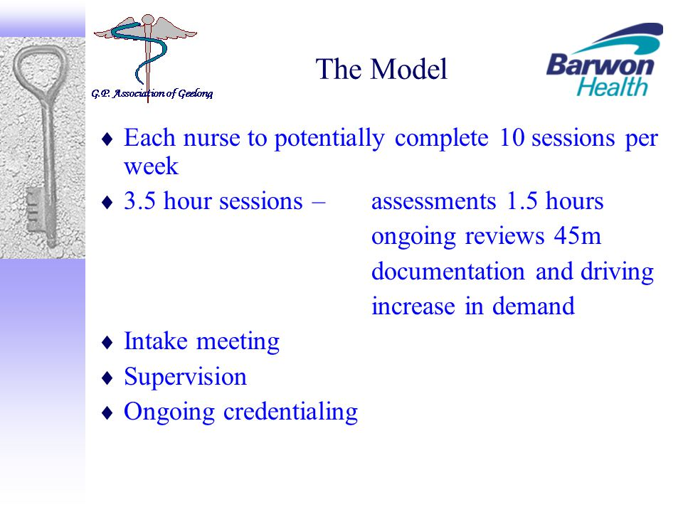 The Model  Each nurse to potentially complete 10 sessions per week  3.5 hour sessions – assessments 1.5 hours ongoing reviews 45m documentation and