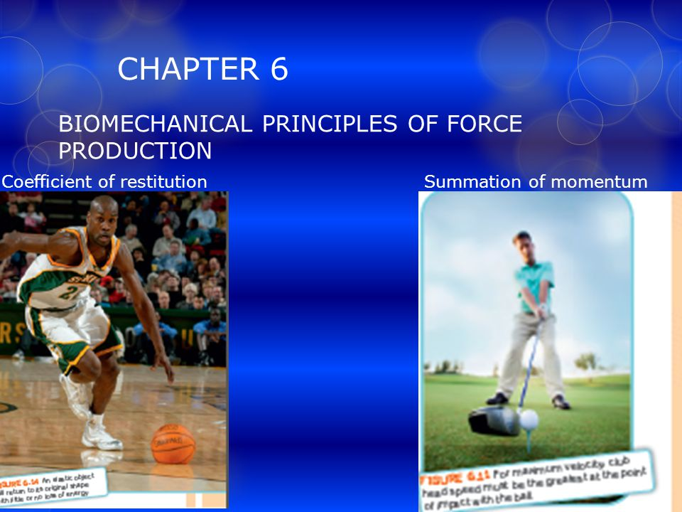 CHAPTER 6 BIOMECHANICAL PRINCIPLES OF FORCE PRODUCTION Coefficient of restitution Summation of momentum
