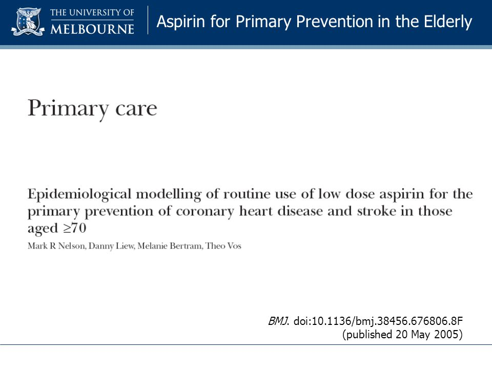 Aspirin for Primary Prevention in the Elderly BMJ. doi:10.1136/bmj.38456.676806.8F (published 20 May 2005)