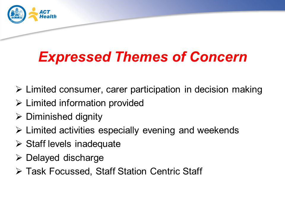 Expressed Themes of Concern  Limited consumer, carer participation in decision making  Limited information provided  Diminished dignity  Limited activities especially evening and weekends  Staff levels inadequate  Delayed discharge  Task Focussed, Staff Station Centric Staff