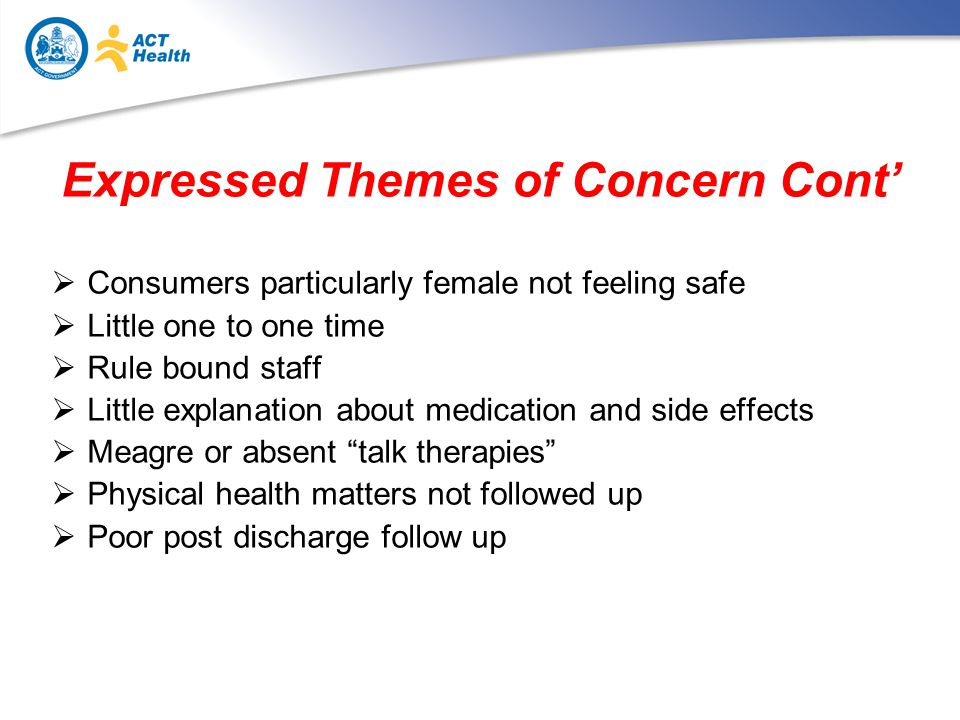 Expressed Themes of Concern Cont'  Consumers particularly female not feeling safe  Little one to one time  Rule bound staff  Little explanation about medication and side effects  Meagre or absent talk therapies  Physical health matters not followed up  Poor post discharge follow up