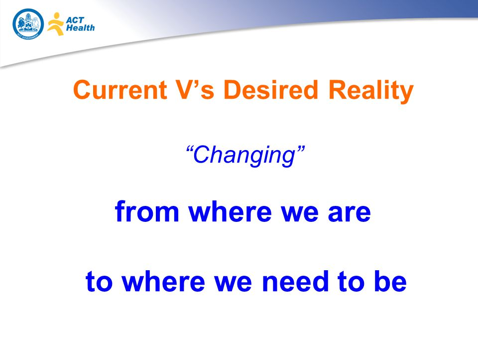 Current V's Desired Reality Changing from where we are to where we need to be
