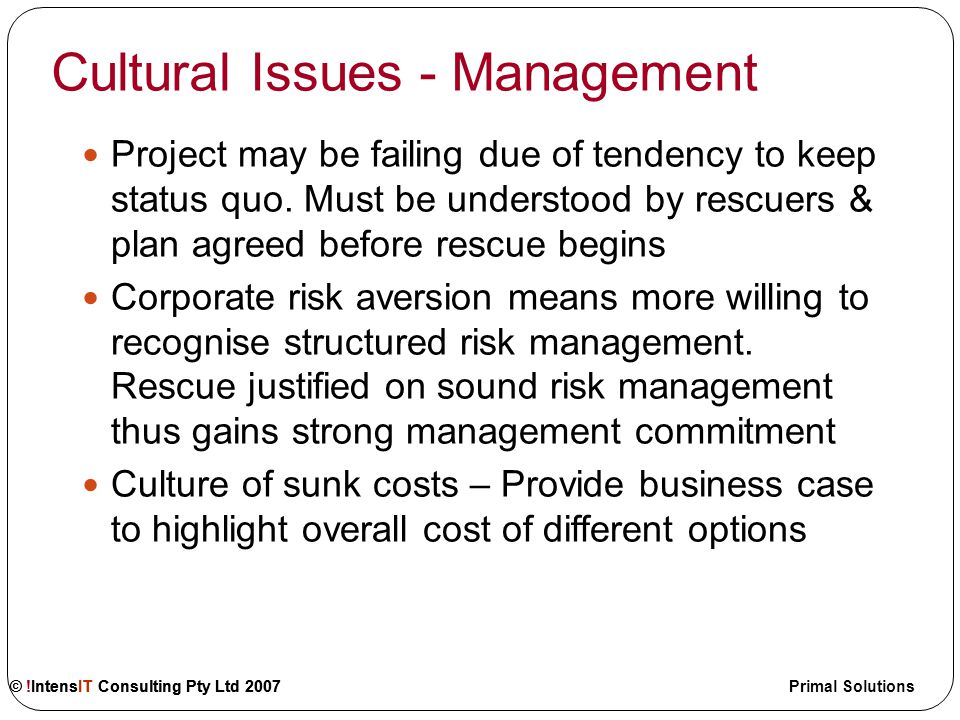 © !IntensIT Consulting Pty Ltd 2007 Primal Solutions Cultural Issues in Rescue Management Stakeholder Management Selecting the Rescue Team Defining Project Rescue Vision Organisational Change Management Pitfalls in Project Rescue © !IntensIT Consulting Pty Ltd 2007
