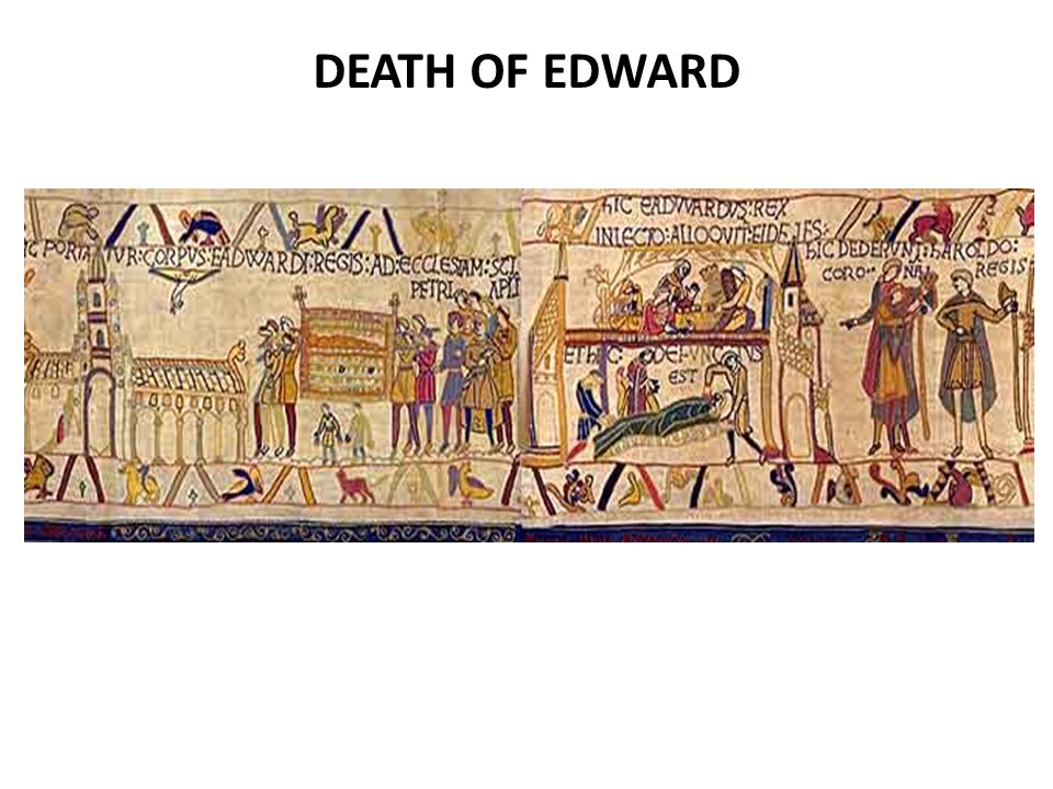 Edward died on the 5th January 1066.The Tapestry reverses the scenes of his death and his burial.