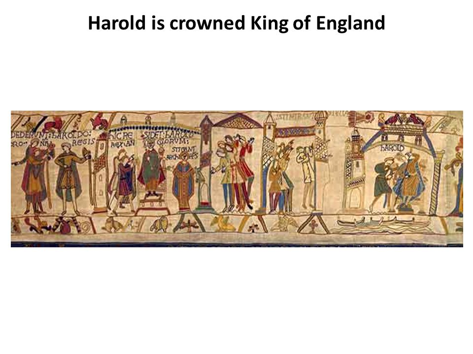 HAROLD IS CROWNED KING OF ENGLAND Harold is crowned King of England on 6th January 1066 Edward's funeral was that very morning.