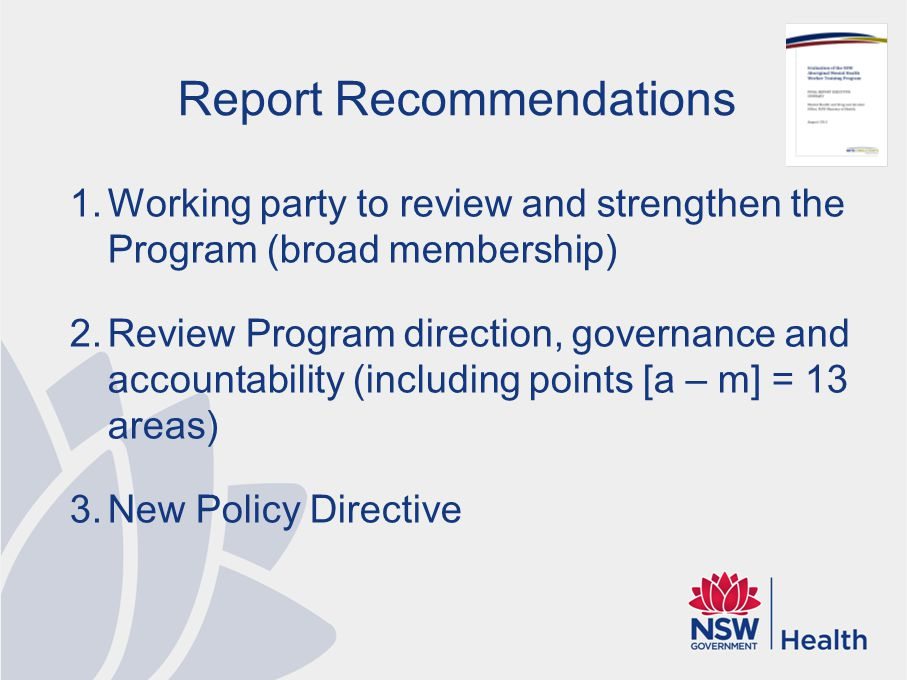 Report Recommendations 1.Working party to review and strengthen the Program (broad membership) 2.Review Program direction, governance and accountabili