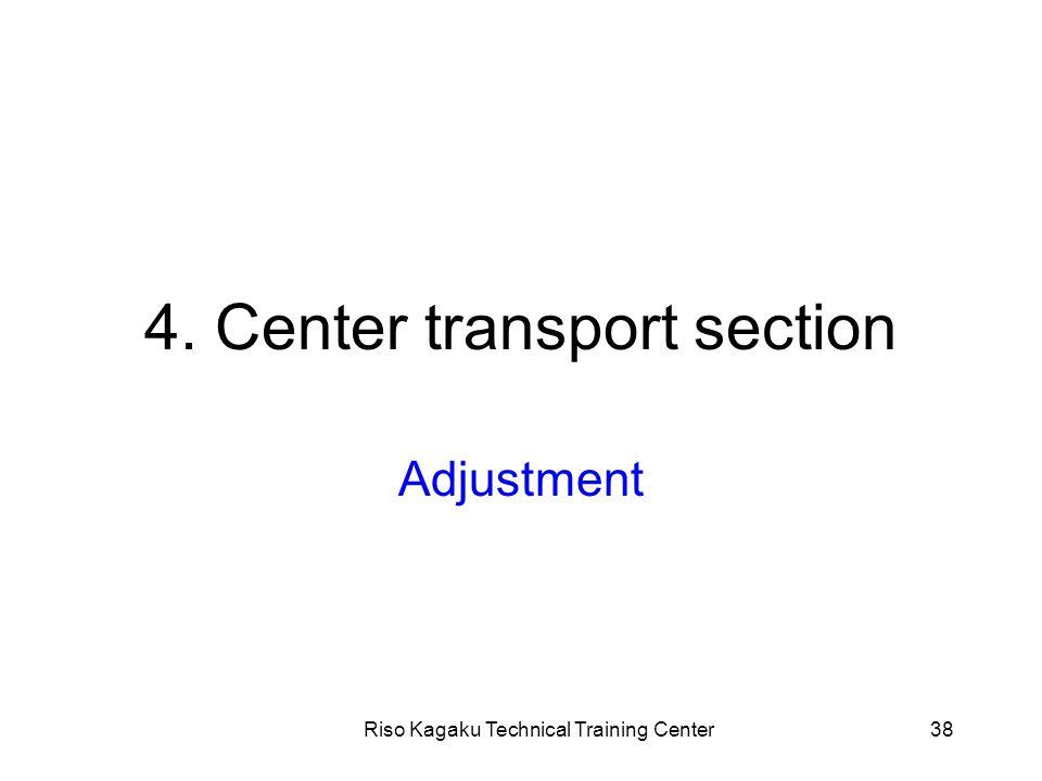 Riso Kagaku Technical Training Center38 4. Center transport section Adjustment