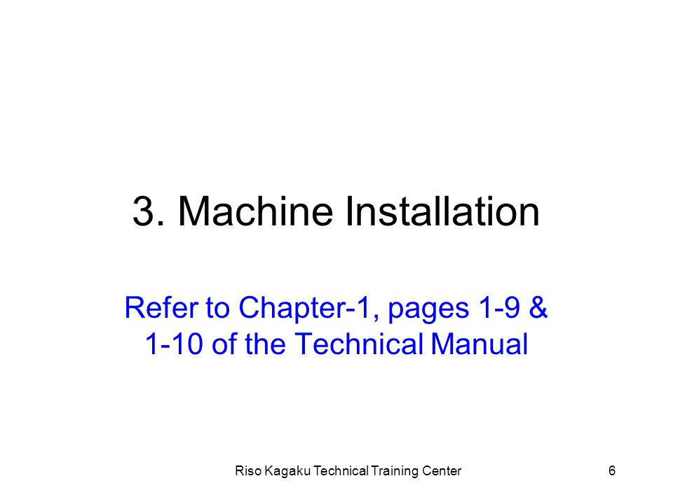 Riso Kagaku Technical Training Center17 7. Main Drive Section - continued - Adjustments