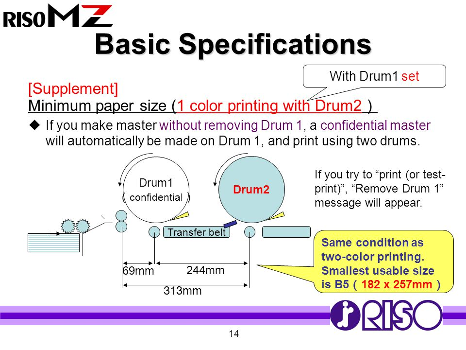 14 Basic Specifications [Supplement] Minimum paper size (1 color printing with Drum2 )  If you make master without removing Drum 1, a confidential ma