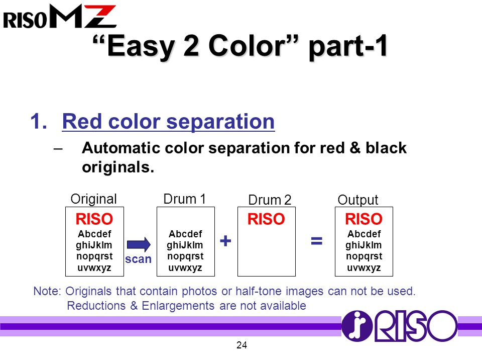 """24 """"Easy 2 Color"""" part-1 1.Red color separation –Automatic color separation for red & black originals. RISO Abcdef ghiJklm nopqrst uvwxyz Abcdef ghiJk"""