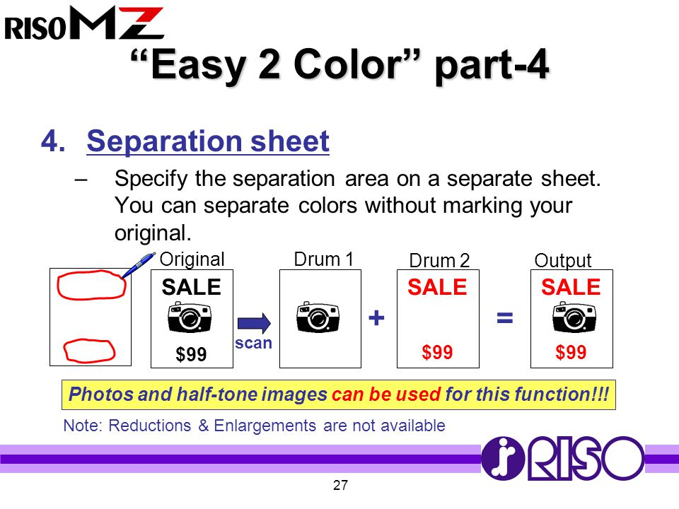 """27 """"Easy 2 Color"""" part-4 4.Separation sheet –Specify the separation area on a separate sheet. You can separate colors without marking your original. S"""