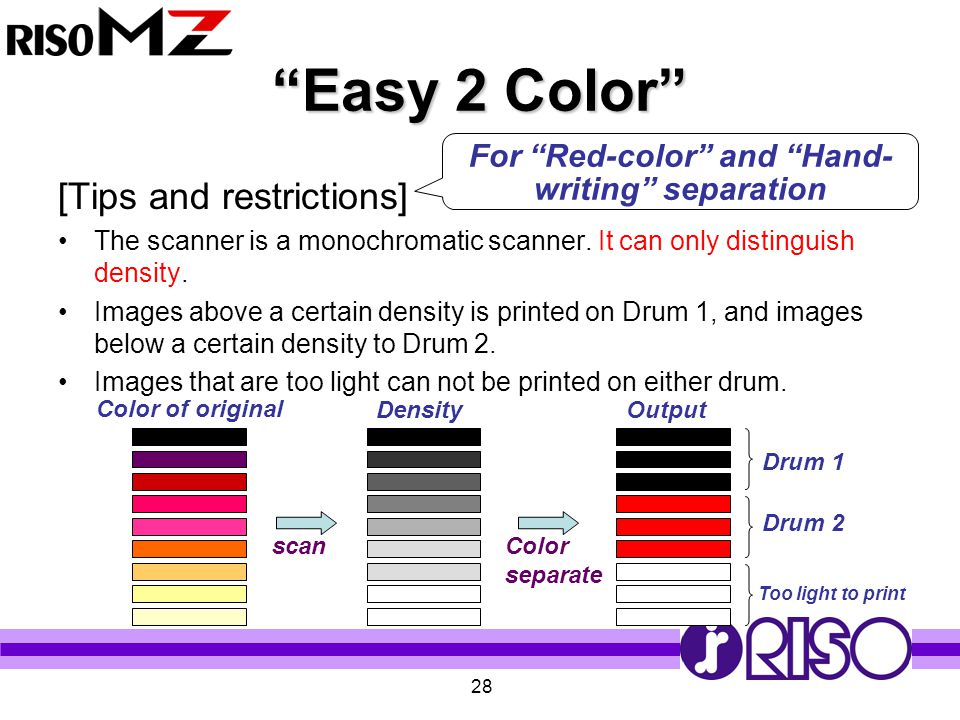 """28 """"Easy 2 Color"""" [Tips and restrictions] The scanner is a monochromatic scanner. It can only distinguish density. Images above a certain density is p"""