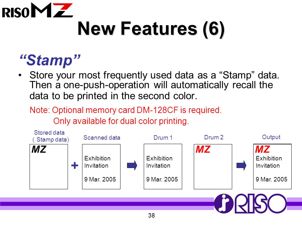 """38 New Features (6) """"Stamp"""" Store your most frequently used data as a """"Stamp"""" data. Then a one-push-operation will automatically recall the data to be"""