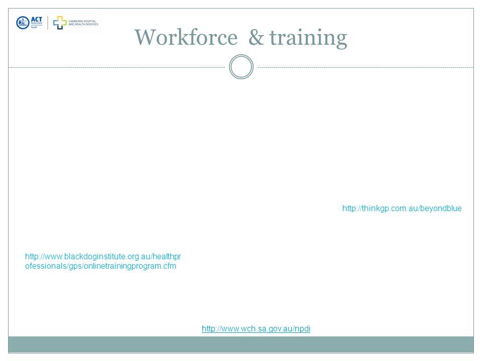 Workforce & training http://www.wch.sa.gov.au/npdi http://www.blackdoginstitute.org.au/healthpr ofessionals/gps/onlinetrainingprogram.cfm http://thinkgp.com.au/beyondblue