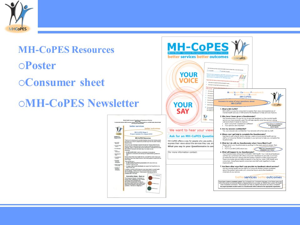 MH-CoPES Resources  Poster  Consumer sheet  MH-CoPES Newsletter