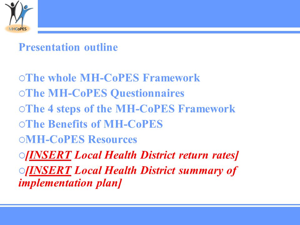 Presentation outline  The whole MH-CoPES Framework  The MH-CoPES Questionnaires  The 4 steps of the MH-CoPES Framework  The Benefits of MH-CoPES  MH-CoPES Resources  [INSERT Local Health District return rates]  [INSERT Local Health District summary of implementation plan]