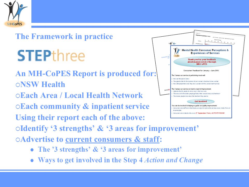 The Framework in practice An MH-CoPES Report is produced for:  NSW Health  Each Area / Local Health Network  Each community & inpatient service Using their report each of the above:  Identify '3 strengths' & '3 areas for improvement'  Advertise to current consumers & staff: The '3 strengths' & '3 areas for improvement' Ways to get involved in the Step 4 Action and Change