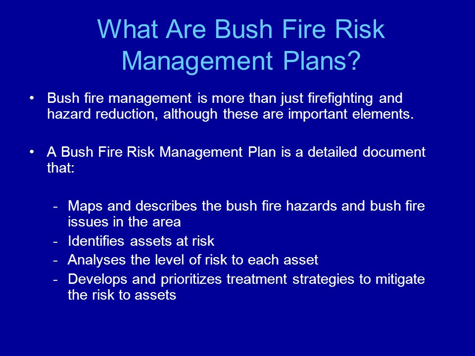 What Are Bush Fire Risk Management Plans.