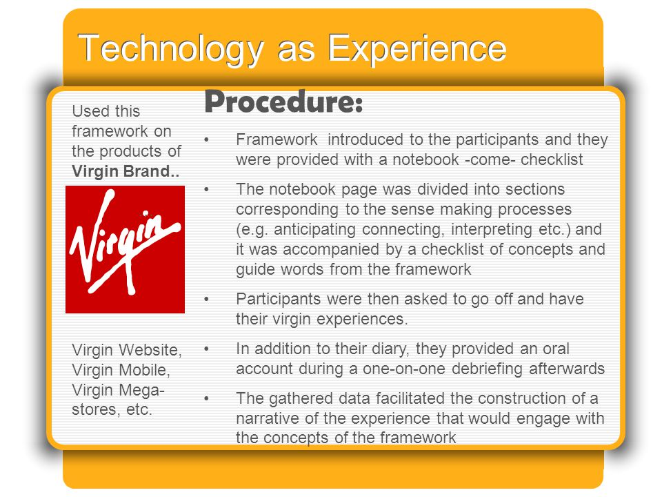 Technology as Experience Procedure: Framework introduced to the participants and they were provided with a notebook -come- checklist The notebook page was divided into sections corresponding to the sense making processes (e.g.