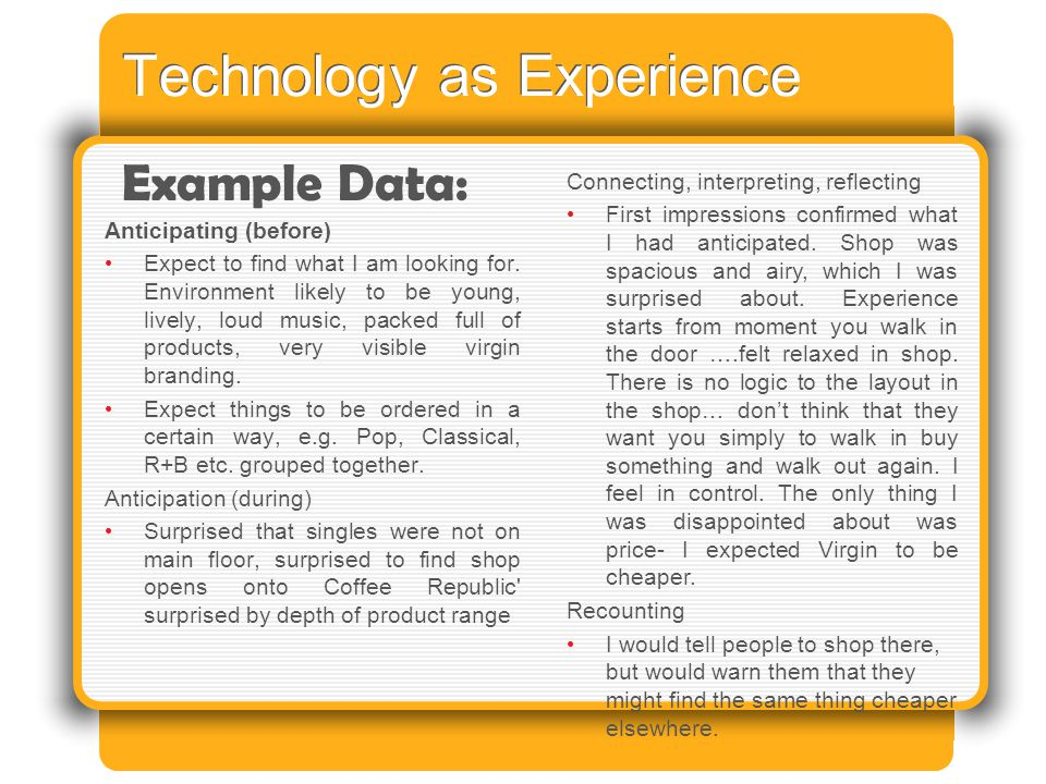 Technology as Experience Anticipating (before) Expect to find what I am looking for.