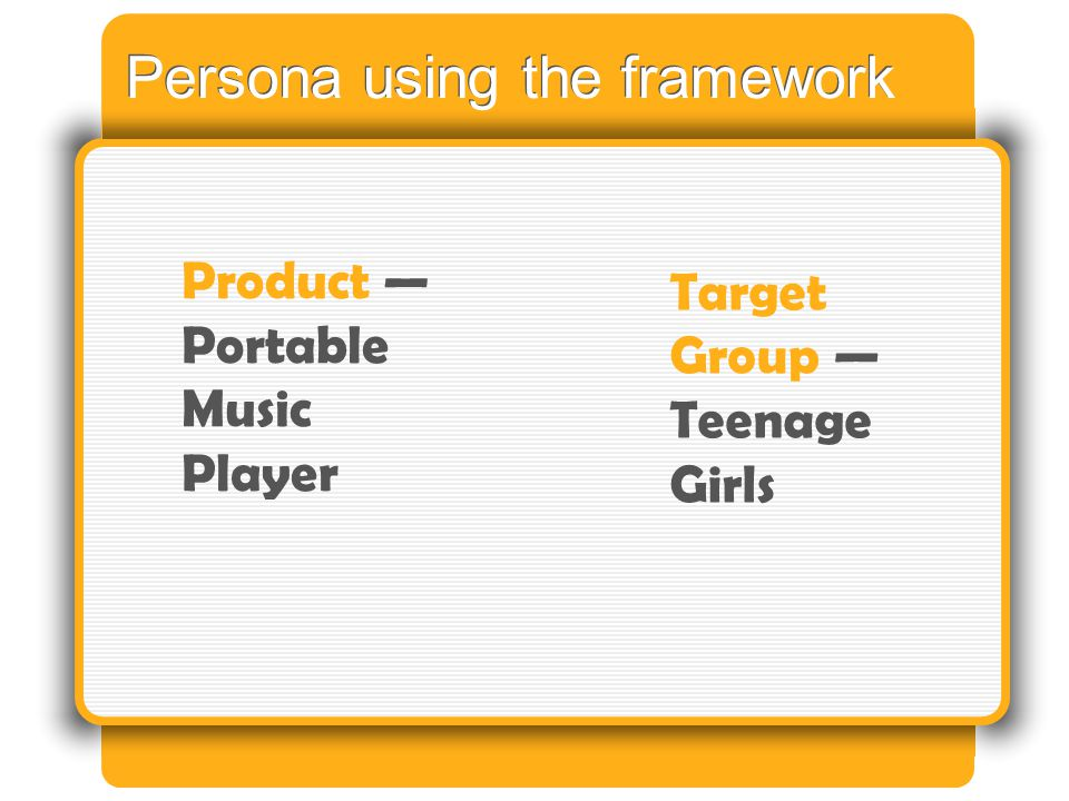 Persona using the framework Product — Portable Music Player Target Group — Teenage Girls