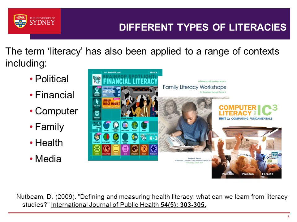 DIFFERENT TYPES OF LITERACIES The term 'literacy' has also been applied to a range of contexts including: Political Financial Computer Family Health Media Nutbeam, D.