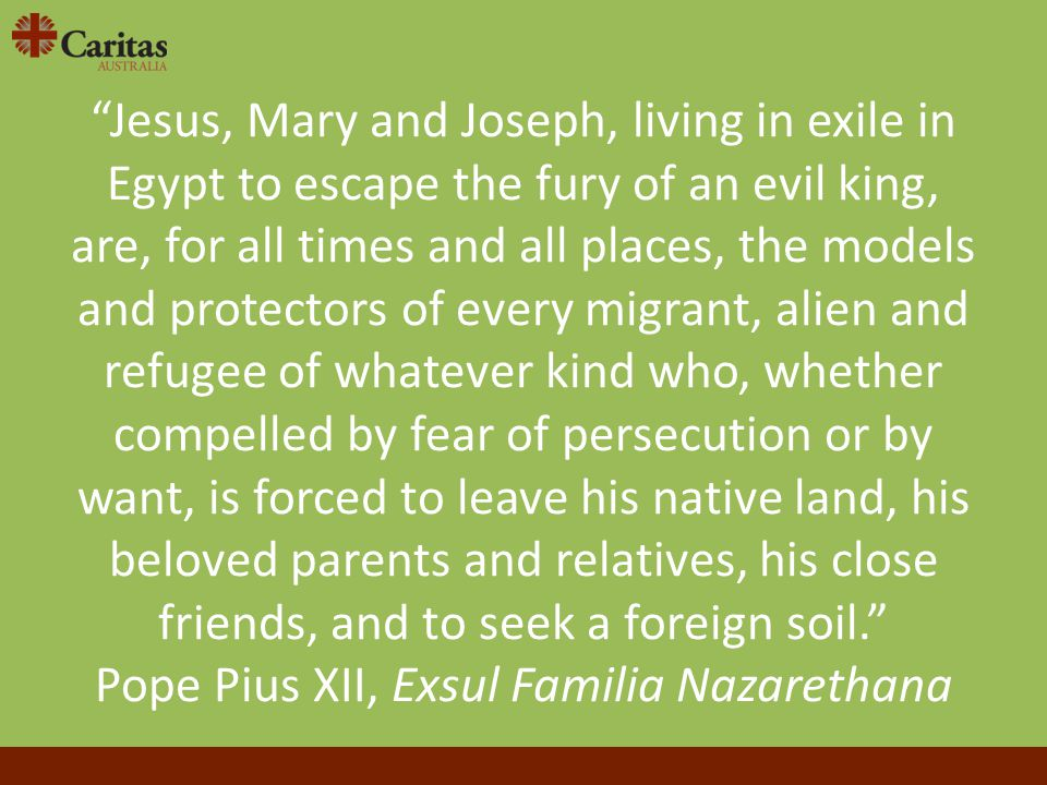 """Jesus, Mary and Joseph, living in exile in Egypt to escape the fury of an evil king, are, for all times and all places, the models and protectors of"
