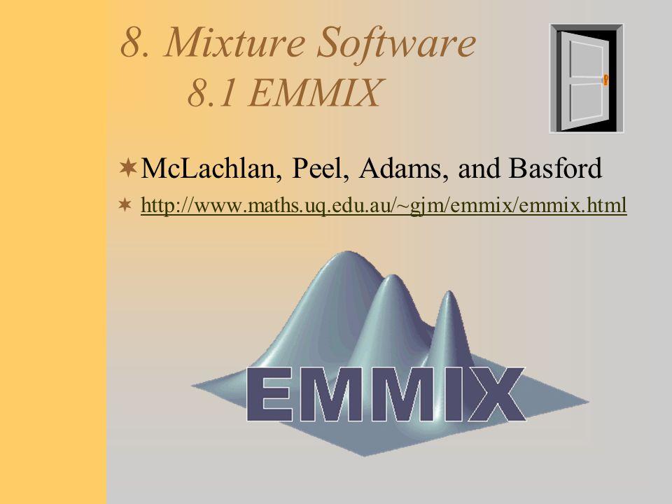 8. Mixture Software 8.1 EMMIX  McLachlan, Peel, Adams, and Basford  http://www.maths.uq.edu.au/~gjm/emmix/emmix.html http://www.maths.uq.edu.au/~gjm