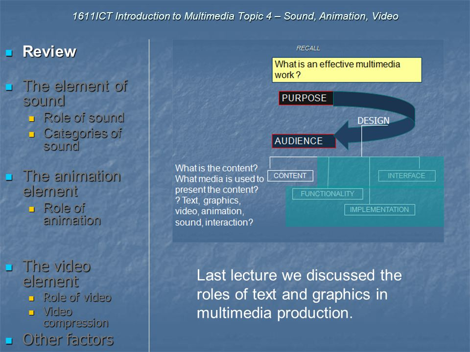 Introduction to Multimedia 1611ICT – Topic 4 Sound, Animation & Video Review The element of sound Role of sound The Animation element Role of animatio
