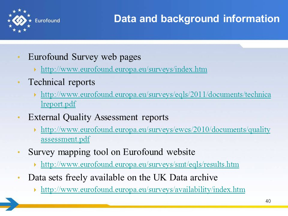 Eurofound Survey web pages  http://www.eurofound.europa.eu/surveys/index.htm http://www.eurofound.europa.eu/surveys/index.htm Technical reports  http://www.eurofound.europa.eu/surveys/eqls/2011/documents/technica lreport.pdf http://www.eurofound.europa.eu/surveys/eqls/2011/documents/technica lreport.pdf External Quality Assessment reports  http://www.eurofound.europa.eu/surveys/ewcs/2010/documents/quality assessment.pdf http://www.eurofound.europa.eu/surveys/ewcs/2010/documents/quality assessment.pdf Survey mapping tool on Eurofound website  http://www.eurofound.europa.eu/surveys/smt/eqls/results.htm http://www.eurofound.europa.eu/surveys/smt/eqls/results.htm Data sets freely available on the UK Data archive  http://www.eurofound.europa.eu/surveys/availability/index.htm http://www.eurofound.europa.eu/surveys/availability/index.htm 40 Data and background information