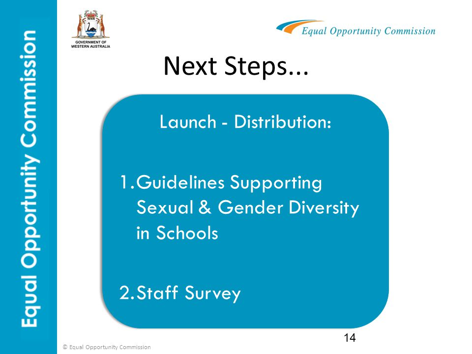© Equal Opportunity Commission Next Steps... 14 Launch - Distribution: 1.Guidelines Supporting Sexual & Gender Diversity in Schools 2.Staff Survey Lau