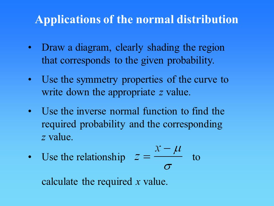 Applications of the normal distribution Draw a diagram, clearly shading the region that corresponds to the given probability.