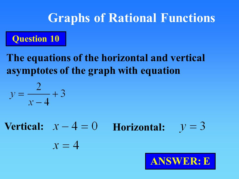 Graphs of Rational Functions The equations of the horizontal and vertical asymptotes of the graph with equation Vertical: Horizontal: ANSWER: E Question 10