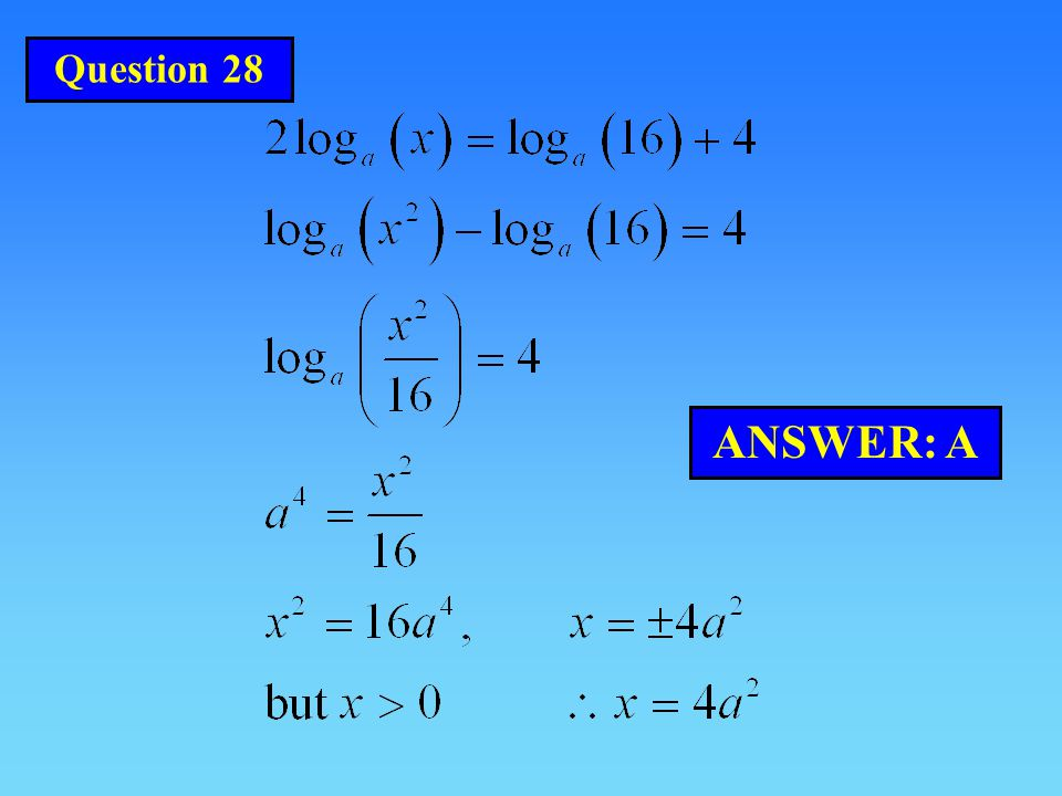 ANSWER: A Question 28