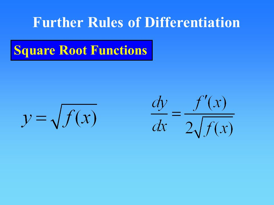 Further Rules of Differentiation Square Root Functions