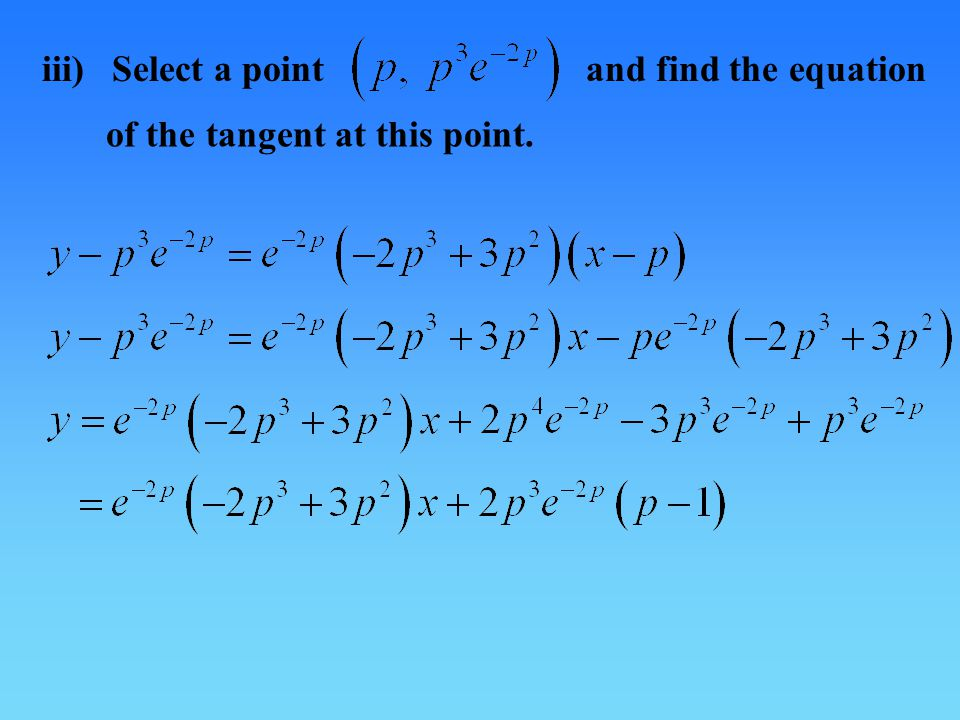iii)Select a pointand find the equation of the tangent at this point.