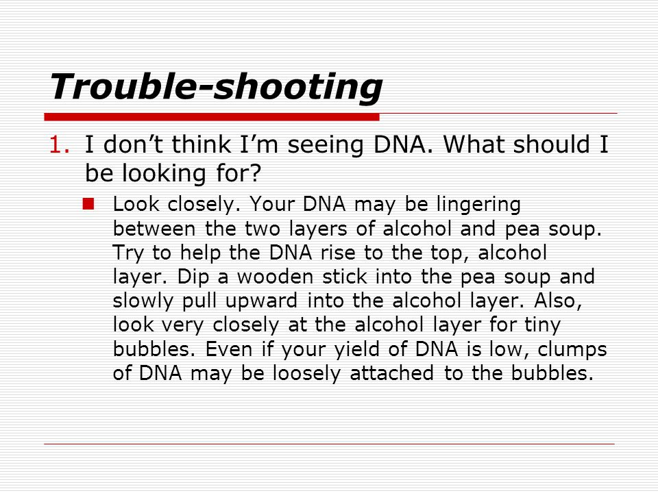 Trouble-shooting 1.I don't think I'm seeing DNA.What should I be looking for.