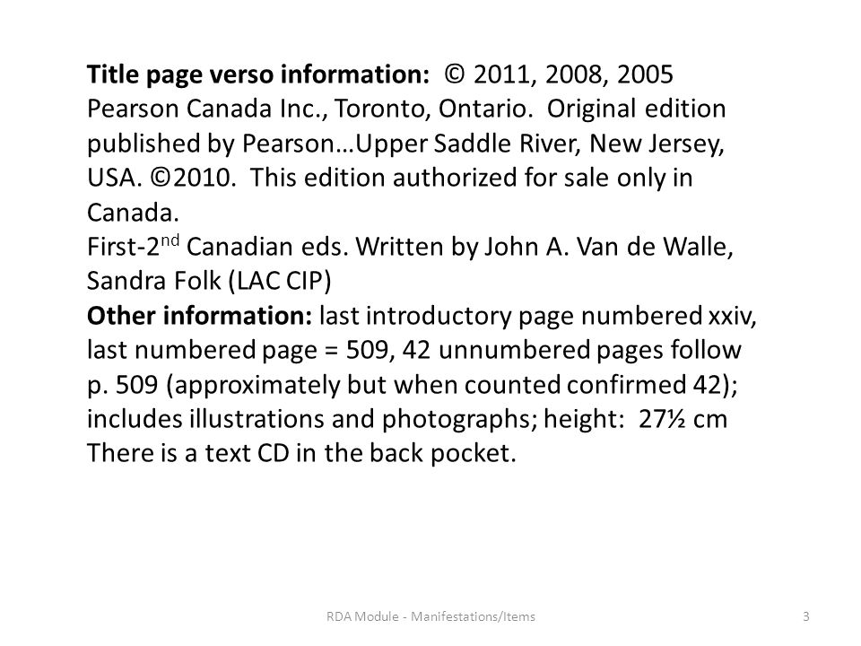 Title page verso information: © 2011, 2008, 2005 Pearson Canada Inc., Toronto, Ontario.