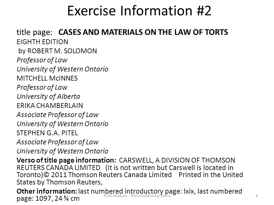 Exercise Information #2 title page: CASES AND MATERIALS ON THE LAW OF TORTS EIGHTH EDITION by ROBERT M.