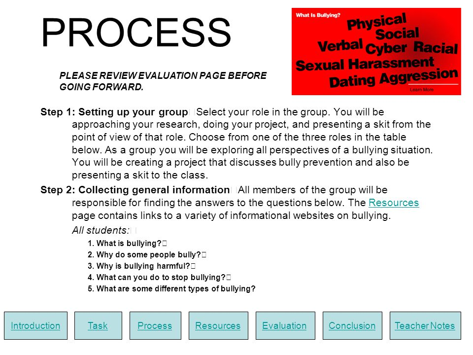Step 3: Collecting specific information Once you select your role, search for answers to questions that relate to that role: Bully: 1.