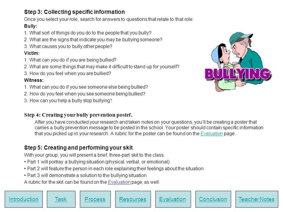 RESOURCES Bullying.orgA Canadian site with info and tips.
