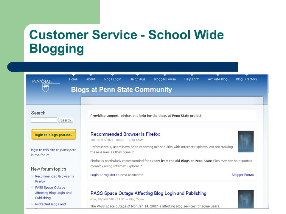 Customer Service - School Wide Blogging