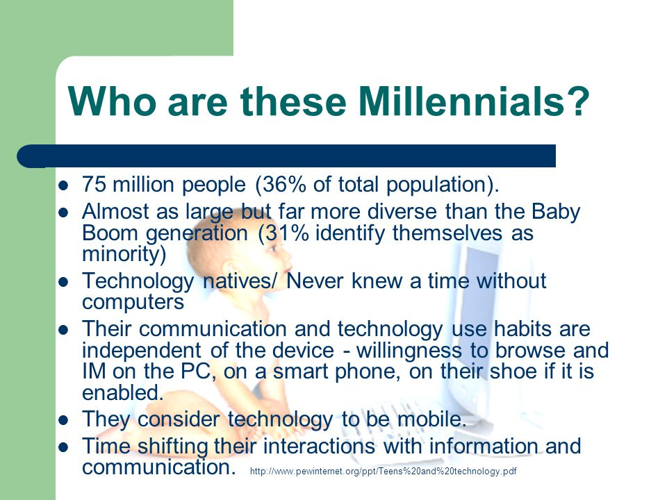 Who are these Millennials. 75 million people (36% of total population).