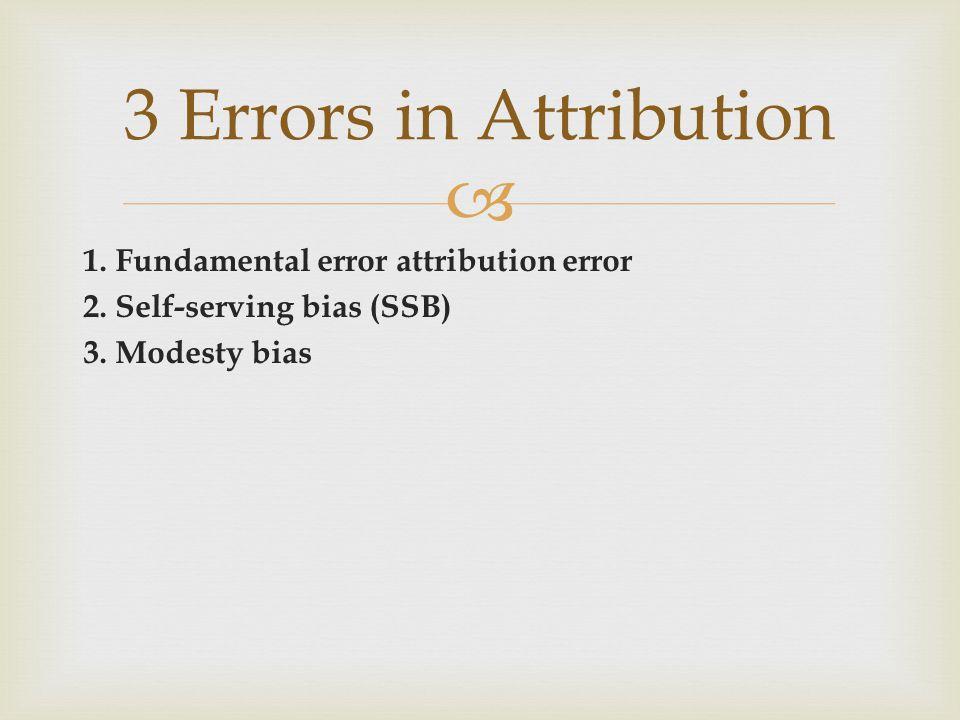 1. Fundamental error attribution error 2. Self-serving bias (SSB) 3. Modesty bias 3 Errors in Attribution