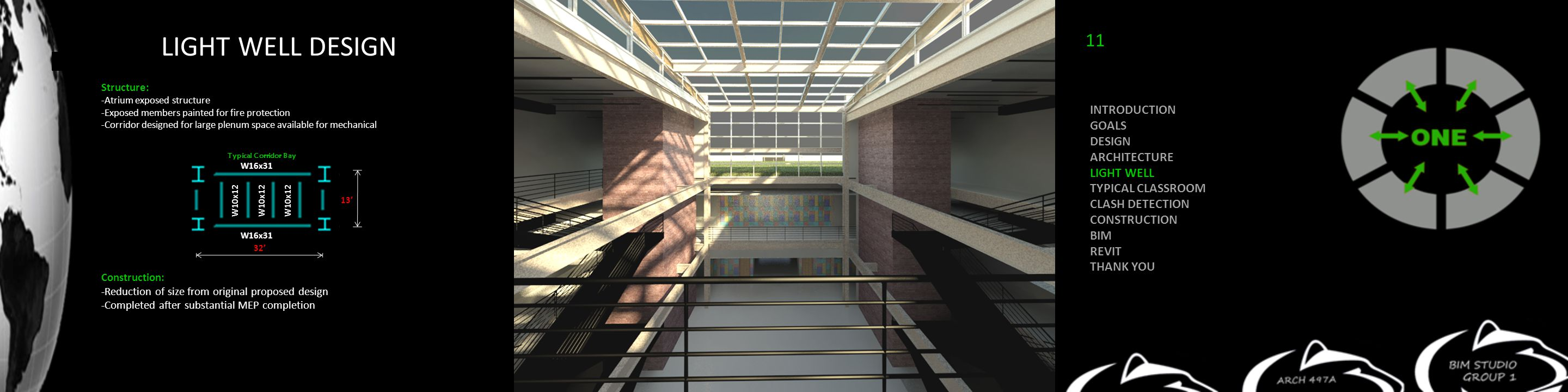 LIGHT WELL DESIGN Structure: -Atrium exposed structure -Exposed members painted for fire protection -Corridor designed for large plenum space available for mechanical Construction: -Reduction of size from original proposed design -Completed after substantial MEP completion Typical Corridor Bay W16x31 W10x12 32' 13' W10x12 INTRODUCTION GOALS DESIGN ARCHITECTURE LIGHT WELL TYPICAL CLASSROOM CLASH DETECTION CONSTRUCTION BIM REVIT THANK YOU 11
